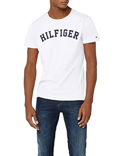 Tommy Hilfiger Logo Camiseta de Cuello Redondo,Perfecta para El Tiempo Libre, Blanco (White), M para Hombre