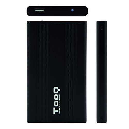"""TooQ TQE-2510B - Carcasa para Discos Duros HDD de 2.5"""", (SATA I/II/III de hasta 9.5 mm de Alto, USB 2.0), Aluminio, indicador LED, Color Negro, 80 grs."""