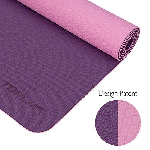 TOPLUS Esterilla Yoga Antideslizante Nivel Profesional Alfombrilla de Yoga Esterilla Pilates Esterilla Deporte- con Correa de Hombro 183cm x 61cm (Violeta)