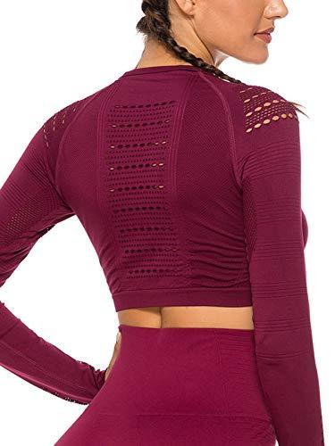 Tops Yoga Camiseta Deportiva Sin Costura Mangas Larga Fitness Mujer Gimnasio2240 Rojo L