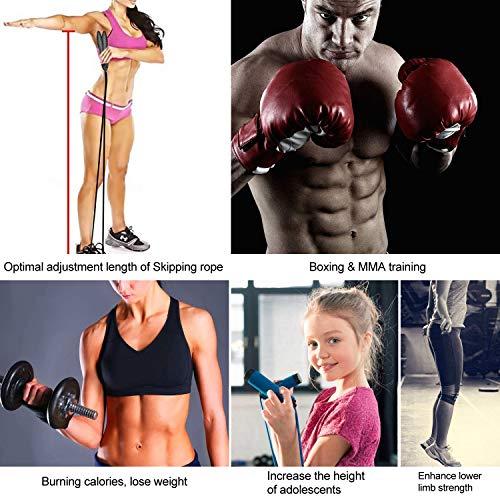 TOQIBO Cuerda para Saltar de Alta Velocidad sin Cable Comba de Crossfit, Boxeo, MMA Cuerda de Salto Longitud Ajustable 2 Formas de Entrenamiento Fitness en Casa, Oficina o Gimnasio