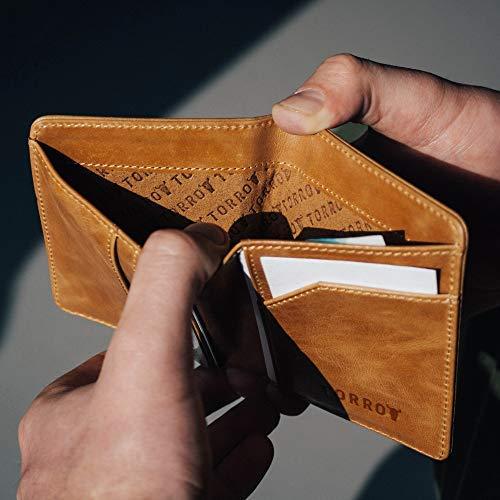 TORRO Cartera de Cuero Genuino de Estados Unidos para Hombre [Bloqueo RFID] [5 Ranuras para Tarjetas de Crédito] [1 Compartimento Forrado en Microfibra para Efectivo] [Perfil Delgado] (Marrón Claro)