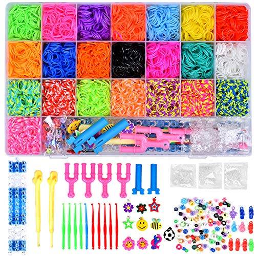 Towinle Caja Pulseras Gomas 6800 Bandas de Silicona Para Hacer Pulseras De Colores Loom Kit para Pulseras