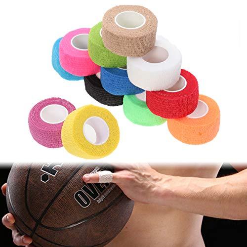 Toyvian 12 Piezas Cinta de Vendaje Médico Adhesiva Elástica Rollos de Vendaje Autoadhesivos Cinta Deportiva Fuerte para Dedos y Esguinces 2.5 cm x 1 m