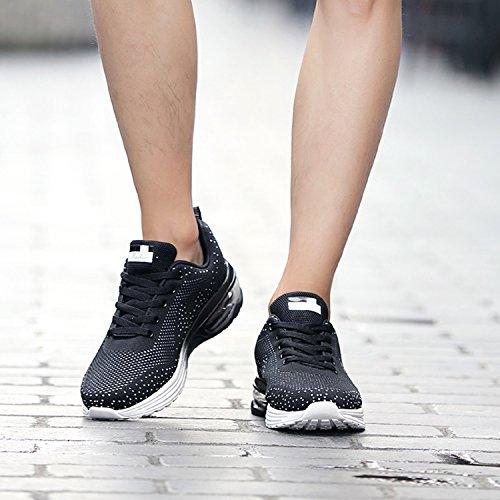 TQGOLD® Zapatillas de Running para Hombre Lightweight Air Cushion Malla Respirable Zapatillas de Deporte Zapatillas para Correr(EU 38,Negro)