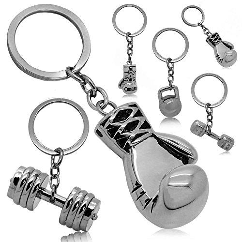 tumundo Llaveros Chiave Peso Fitness Culturismo Guantes de Boxeo Llavero-Coche Clave Colgante de Acero Deporte Hombre, Modelo:Mod 1