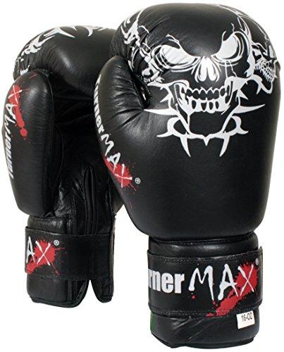 TunerMAX - Guantes de Boxeo de Piel de Vacuno para Artes Marciales Mixtas, Color Negro, 12 oz