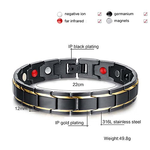 Tuopuda para Hombre Negro Elegante del Oro de la Pulsera magnética de la Salud con Las Piedras magnéticas