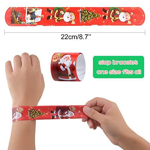 TUPARKA45 PCS Pulseras de palmadas de Navidad Bofetadas Muñequeras con muñeco de nieve de Papá Noel Patrones de árboles de Navidad para niños Fiesta de Navidad Rellenos de bolsas Favores Bolsa de rega