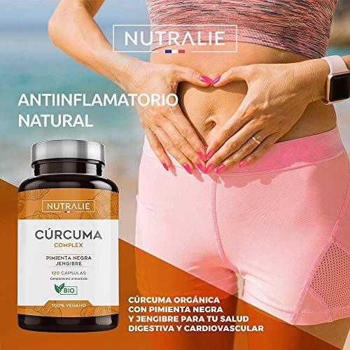 Turmeric Cúrcuma orgánica(650mg) con Jengibre(50mg) y Pimienta Negra(10mg) | 120 cápsulas vegetales | Máxima calidad | Potente antiinflamatorio y antioxidante natural | Cúrcuma complex | Nutralie