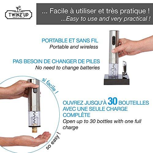 Twinz'up - Sacacorchos Eléctrico Inalámbrico - Estuche Premium con Cortador de Cápsulas y Base de Recarga - Profesional Automatico Abrelatas de Vino - El Regalo Ideal - Abridor Botellas - Plata