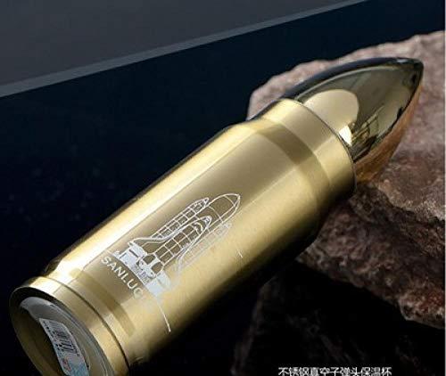 Tyarwqg 350 ml o 500 ml acero inoxidable termo botella de agua de moda para hombre oficina taza de agua bala oficina deportiva, dorado, 500 ml
