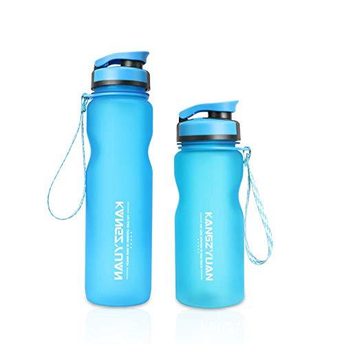 Tyarwqg 600 ml o 1000 ml taza de agua esmerilada de gran capacidad, taza espacial, botella de deporte para bicicleta, botella de agua portátil para el coche, la mayoría de los azul_1000 ml