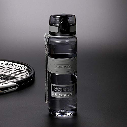Tyarwqg - Taza de plástico de gran capacidad, portátil, resistente a roturas, botella de agua para deportes al aire libre, color gris, tamaño 1.000 ml