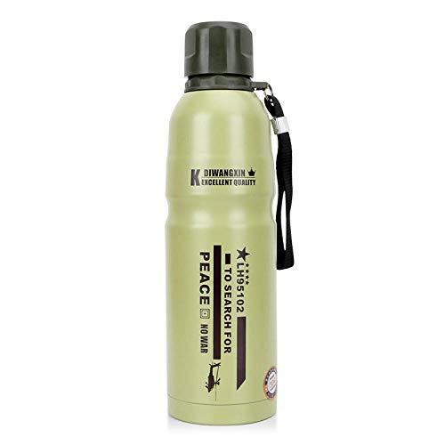 Tyarwqg - Termo de acero inoxidable para coche, botella de viaje, taza de deporte al aire libre, botella de agua portátil, color verde claro, tamaño 500 ml
