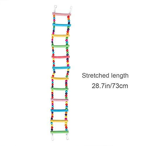 UEETEK 2 piezas de escaleras para pájaros juguetes, escaleras flexibles 12 escalones de madera Rainbow Bridge columpios y cuerdas para entrenamiento de loros