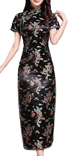 UK Stock - Vestido chino para mujer negro negro