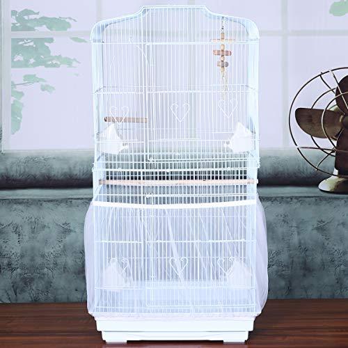 UKCOCO Jaula Protectora Guard Jaulas Accesorios pájaro Malla de Semillas Evita Que el alpiste caiga al Suelo (Blanco)