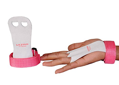 ULTRA FITNESS Children's Hand Pads for Children, Gymnastics, a Pair of Leather Gloves for Chin-ups, Crossfit, Boxing, Gym, Strength Training, Color Pink, Medium