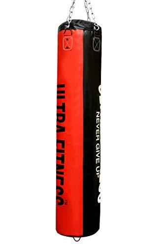 Ultra Fitness - Saco de boxeo relleno con cadena para colgar, ideal para cardio, fitness y entrenamiento de artes marciales mixtas, tamaño 150 cm