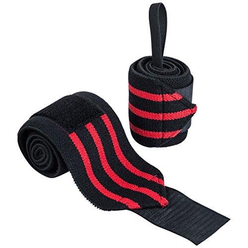 Ultrasport 2 Piezas Soporte de muñeca para Culturismo, Entrenamiento, Levantamiento de Pesas o Crossfit, Unisex Adulto, Negro/Rojo, OS