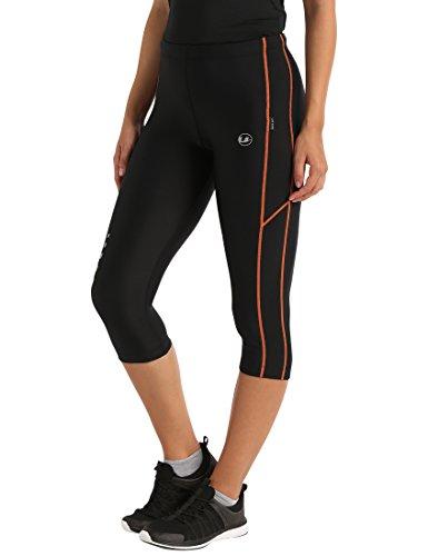 Ultrasport, Pantalones deportivos 3/4 para Mujer, Negro/Naranja, XS