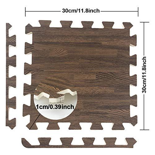 UMI. Essentials 1' x 1'(30cm x 30cm) Tapetes De Espuma De Que Se Enclavamiento (Grano de Madera) (9 Piezas Oscuro)