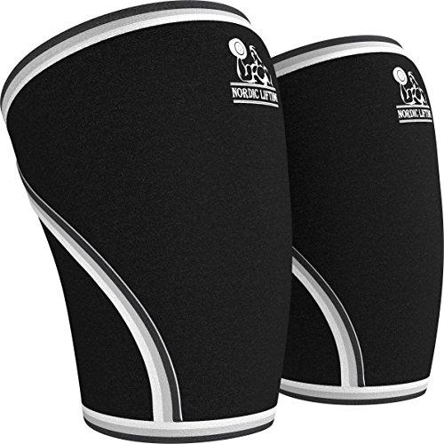 Un par de rodilleras de compresión Nordic Lifting™ para levantamiento de pesas, entrenamiento de potencia y CrossFit de neopreno de 7mm, rodilleras para las mejores sentadillas para hombres y mujeres, negro, large