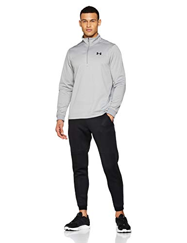 Under Armour Fleece Sudadera para Hombre, Camiseta de Manga Larga con Media Cremallera, Sudadera de Deporte Transpirable y elástica, Steel Light Heather/Black (035), MD