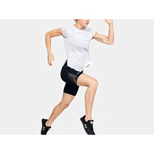 Under Armour Fly Fast Heatgear Half Tight Pantalones Cortos, Mujer, Negro/Gris halo/Reflectante (001), MD