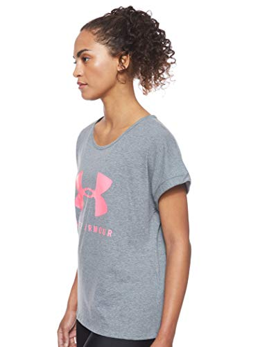 Under Armour Graphic Sportstyle Fashion SSC Camiseta, Mujer, Gris (Pitch Gray Light Heather/Mojo Pink 012), XL