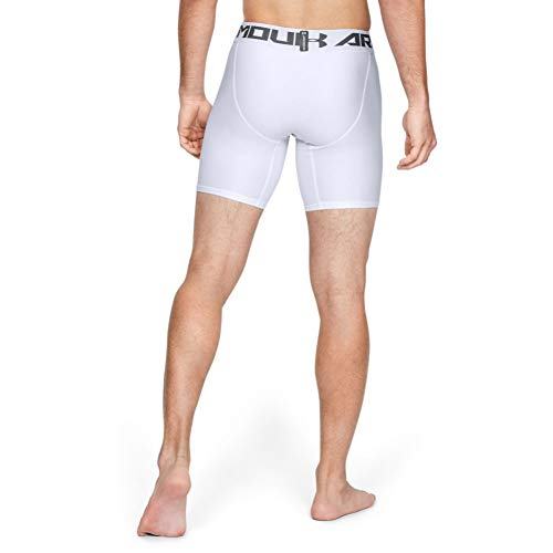 Under Armour HeatGear ARMOUR 2.0 COMP Shorts, Pantalón Corto Hombre, Blanco (White/Graphite 100), XL