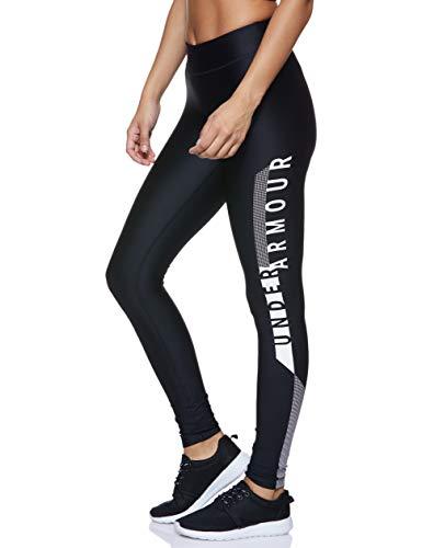 Under Armour Heatgear Armour Graphic Pantalones Deportivos para Mujeres, Pantalones Transpirables de Mujer, cómodas Mallas Deportivas de compresión, Black/White/Metallic Silver (001), MD