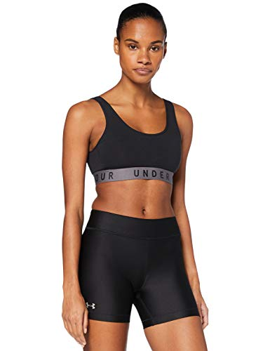 Under Armour Heatgear Armour Middy Corto, Mujer, Negro, MD
