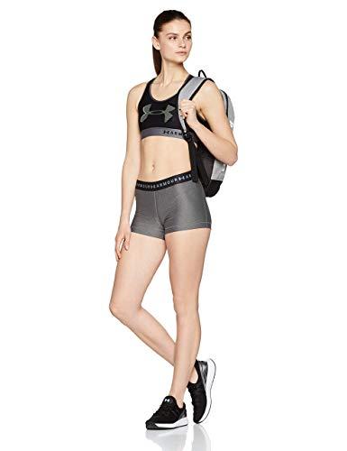 Under Armour Heatgear Armour Shorty, Mallas de Deporte de Mujer Mujer, Negro (Charcoal Light Heather/Anthracite/Metallic Silver), L