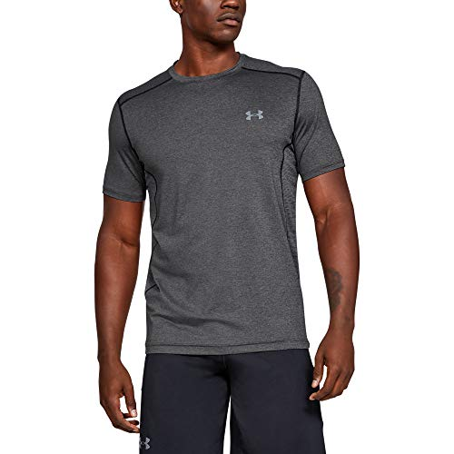 Under Armour Raid Camiseta Masculina, Camiseta Transpirable, Ajustada Camiseta Deportiva de Manga Corta y de Secado rápido, Carbon Heather/Carbon Heather/Steel (090), SM