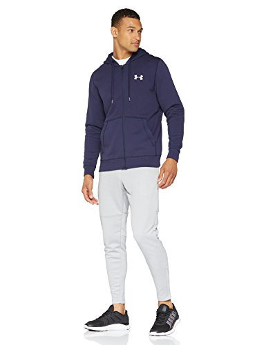 Under Armour Rival Fitted Full Zip Sudadera, Hombre, Azul (Midnight Navy/White 410), M