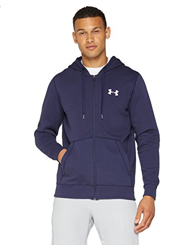 Under Armour Rival Fitted Full Zip Sudadera, Hombre, Azul (Midnight Navy/White 410), XL
