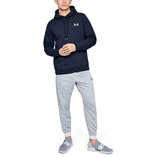 Under Armour Rival Fitted Pull Over Sudadera con Capucha, Hombre, Azul (Midnight Navy/White 410), M