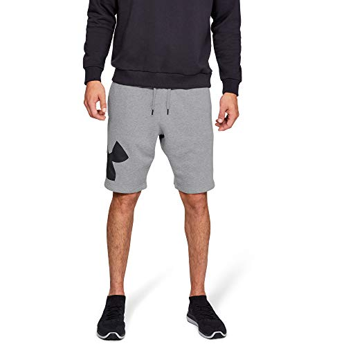 Under Armour Rival Fleece Logo Pantalones Cortos para Hombre, cómodos y robustos Pantalones para Correr, Ancho pantalón Corto con Bolsillos Laterales, Steel Light Heather/Black (035), MD