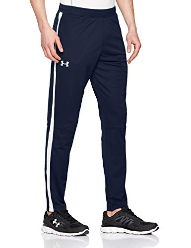 Under Armour Sportstyle Pique Pantalón deportivo para hombre, pantalón largo transpirable, pantalones con bolsillos cómodos y ajustados, Academy/White (408), LG