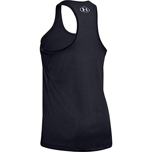 Under Armour Tech Tank - Solid Camiseta Para Correr, Camiseta Ancha Para Mujer Mujer Negro (Black/Metallic Silver 001) S