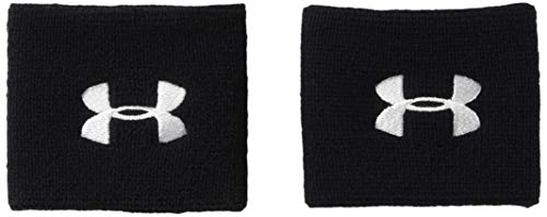 Under Armour UA 7.5cm Performance Wristband Pack de 2 Muñequeras para Hombre, Accesorios de Entrenamiento, Negro (Black 001), Talla Única