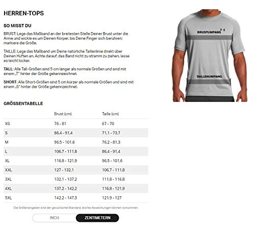 Under Armour UA Heatgear Short Sleeve Camiseta, Hombre, Gris (Carbon Heather/Black 090), XL