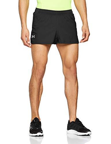Under Armour UA Launch Sw Split Short Pantalón Corto, Hombre, Negro (Black/Black/Reflective 001), XXL