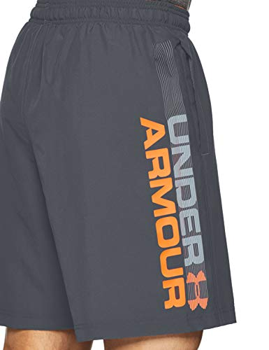 Under Armour Woven Graphic Wordmark Shorts Pantalón Corto, Hombre, Gris (Pitch Gray/Orange Glitch 012), L