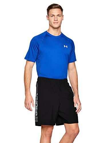 Under Armour Woven Graphic Wordmark Shorts Pantalones de hombre, pantalón corto ultraligero y transpirable, cómodo y ancho pantalón de deporte, Black/Zinc Gray (001), LG
