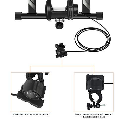 Unisky – Soporte magnético para entrenamiento de bicicleta de interior con 6 niveles de resistencia para bicicleta de montaña y carretera (negro)