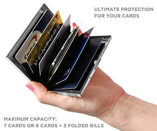 URAQT Tarjetero para Tarjetas de Crédito/Visita/Monedero/Lucha contra RFID Scanning – Genial–Funda Fina de Metal para Tarjetas de Visita Argent2