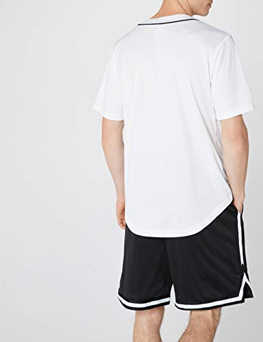 Urban Classics Camiseta Baseball Mesh Jersey con Botones a Presión con Vivos a Contraste, para un Look Deportivo, para Vestir Arreglado pero Casual en white, talla L, hombre